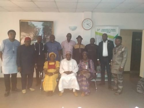 A cross section of FTAN Council Members with the new Director of Domestic Tourism seated on the left beside Alhaji Rabo (FTAN President) and Mrs Narayi (Deputy Director, Domestic Tourism)