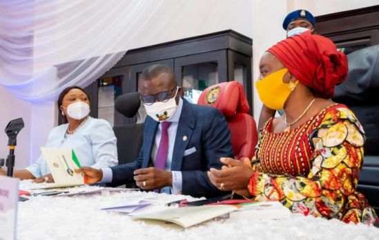 "Picture: R-L: First Lady of Lagos State, Dr. Ibijoke Sanwo-Olu; Governor Babajide Sanwo-Olu and Commissioner for Commerce, Industry & Cooperatives, Dr. Lola Akande, during the 6th Lagos Corporate Assembly tagged ""BOS meets Business"", at Lagos House, Alausa, Ikeja, on Wednesday, July 29, 2020."