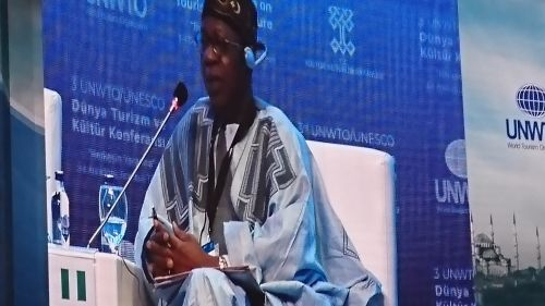Alhaji Lai Muhammed speaking at the cultural tourism event in Turkey
