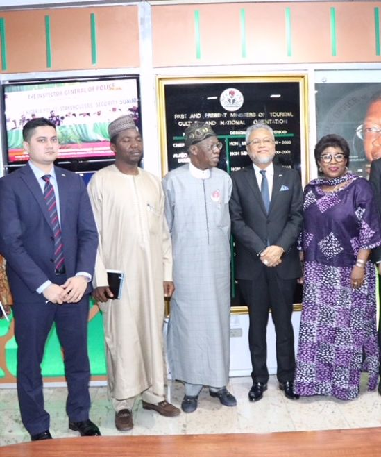 The Minister of Information and Culture, Alhaji Lai Mohammed (middle); Secretary-General of the D-8, Mr. Dato' Ku Jafafar Ku Shaari (second right); Permanent Secretary Federal Ministry of Information and Culture, Deaconess Grace Isu-Gekpe (extreme right) and other members of the D-8 when the Secretary General paid a courtesy visit to the minister in Abuja on Tuesday.