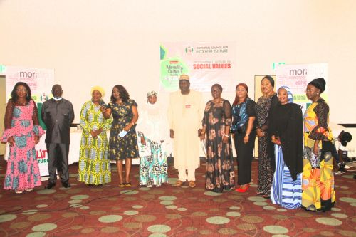 Picture story: From R-L : Hon. (Justice) Olamide Oloyede (rtd), Hajiya Bilikisu Abdul (President NATOP), Ulasi Ebele, (Director Counselling, NAPTIP), Mrs. Susan Akporiaye (President NANTA) , Dr. (Mrs) Toyin Dokpesi, (MD AIT), Otunba Olusegun Runsewe, DG NCAC, Dr. Hajo Sani, Snr Special Assistance to the President on women affairs and administration. Mrs. Rita Ezeani (MD Sheraton hotel Abuja. Mrs. Eugenia Abu, (Broadcaster, Writer and Media consultant), Mr. David Manya Dogo, ( FCT Director, NOA rtd).