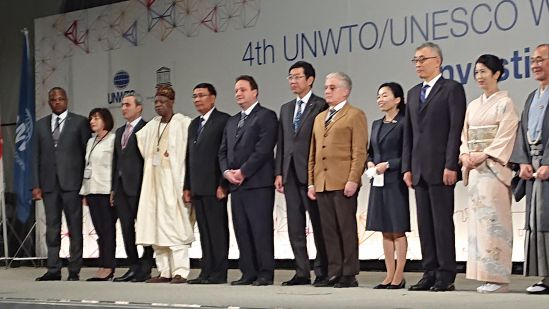 The Minister of Information and Culture, Alhaji Lai Mohammed (4th from left), at a group photograph with Ministers from other countries participating in the 4th UNWTO/UNESCO World Conference on Tourism and Culture in Kyoto, Japan, on Thursday