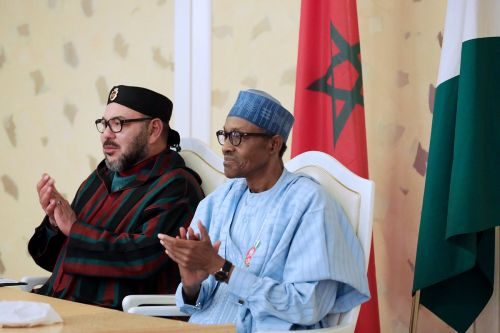 (from the left) King Muhammad of Morocco and Muhammadu Buhari President of Nigeria